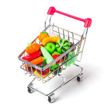 Shopping cart with fruits and vegetables  Stock Image