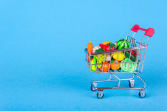 Shopping cart with fruits and vegetables Stock Photography