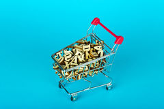 Shopping cart with fruits and vegetables Royalty Free Stock Photography