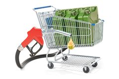 Shopping cart with fuel pump nozzle and jerrycan, 3D rendering. Isolated on white background Royalty Free Stock Photos