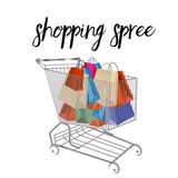 Shopping Cart full of bags Royalty Free Stock Photos