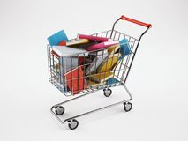 Shopping cart full of books. 3D Rendering. Shopping cart full of books. School, online orders concept. 3D Rendering royalty free illustration