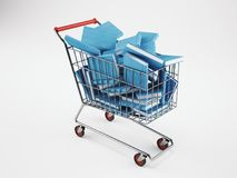 Shopping cart full of books. 3D Rendering. Shopping cart full of books. School, online orders concept. 3D Rendering stock illustration