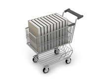 Shopping cart full of books Stock Image