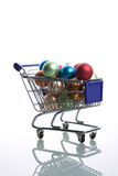 Shopping cart full with christmas balls Royalty Free Stock Image