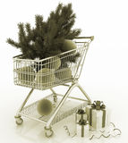 Shopping cart full with christmas balls with fir-tree and gift boxes Stock Photos