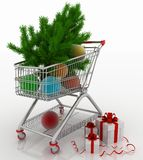 Shopping cart full with christmas balls with fir-tree and gift boxes Royalty Free Stock Photos