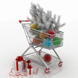 Shopping cart full with christmas balls with fir-tree and gift boxes Royalty Free Stock Images