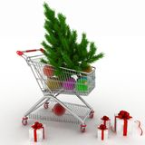 Shopping cart full with christmas balls with fir-tree and gift boxes. 3d illustration on white background Royalty Free Stock Photo