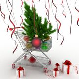 Shopping cart full with christmas balls with fir-tree and gift boxes. 3d illustration on white background Stock Photography