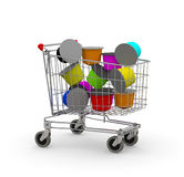 Shopping cart full of coffee capsule Stock Photography