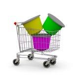 Shopping cart full of coffee capsule Stock Photo