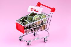 Shopping cart full of coin. On pink background Royalty Free Stock Photo