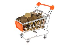 Shopping cart full of coins isolated on white Stock Photography