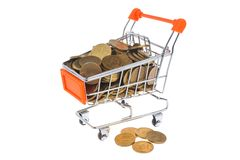 Shopping cart full of coins isolated on white Royalty Free Stock Photography