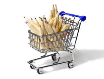 Shopping Cart Full of Color Pencil Stock Image