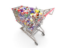 Shopping cart full of colorful discount balls Stock Photography