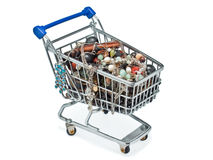 Shopping cart full of costume jewellery Royalty Free Stock Photo