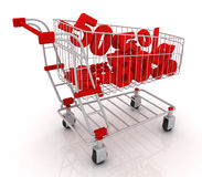 Shopping cart full of discounts. 3D render Royalty Free Stock Photography