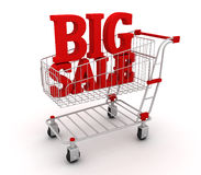 Shopping cart full of discounts. 3D render stock illustration