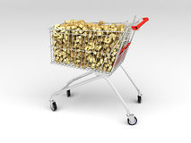 Shopping cart full of dollars Stock Image
