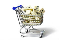 Shopping Cart Full of Dominos Stock Photos