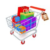 Shopping cart full emblem stock illustration