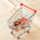 Shopping cart full of euro Stock Photography