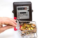 Shopping cart full of European money and the meter Royalty Free Stock Images