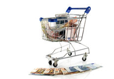 Shopping  cart full of euros Royalty Free Stock Photo