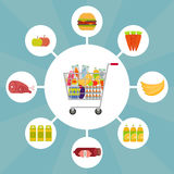 Shopping cart full of food and drinks. Full shopping cart with food icons. EPS10 vector illustration in flat style Royalty Free Stock Photo