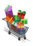 Shopping cart. Full of gift vector isolated Royalty Free Stock Photography
