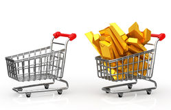 Shopping cart full of gold bar Stock Photography