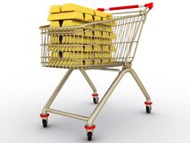 The shopping cart with full gold ingots Stock Photo