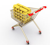 The shopping cart with full gold ingots Royalty Free Stock Photo