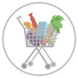 Shopping cart full with groceries in round isolated on white background Royalty Free Stock Photos