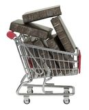 Shopping Cart Full of Books stock images