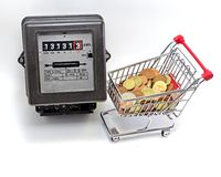 shopping cart full and METER Royalty Free Stock Photography