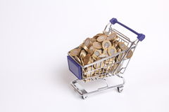 Shopping cart full of money Stock Images