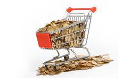 Shopping cart full of money Stock Photography