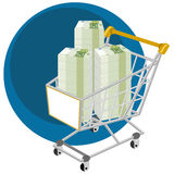 Shopping cart full of money Stock Photos