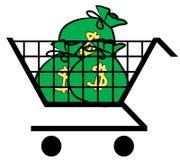 Shopping cart full of money Royalty Free Stock Image