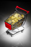Shopping cart full of money Stock Image