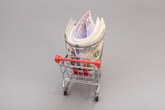 Shopping cart full of money (dollar, euro) Royalty Free Stock Photos