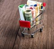 Shopping cart full of money (dollar, euro ) Stock Images
