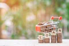 Shopping cart full of money Thai Bath Royalty Free Stock Photography