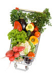 Shopping Cart Full Of Vegetables Royalty Free Stock Images