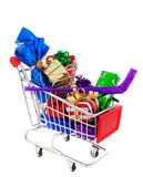 Shopping Cart Full of Presents Stock Photography