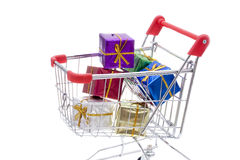 Shopping cart full of presents Stock Photos