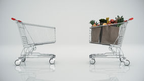 Shopping cart full with products Stock Images